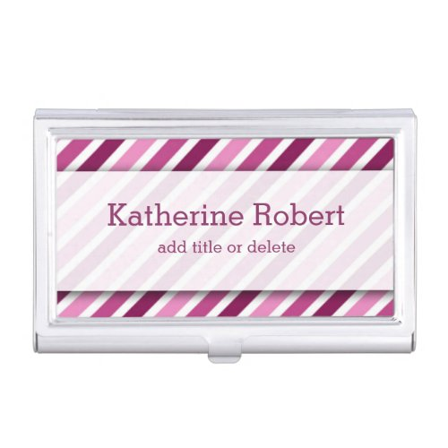Personalized Pink And White Diagonal Stripes Business Card Case