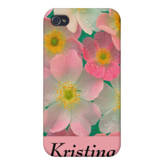 Personalized  Pink and White Flowers iPhone 4 Case