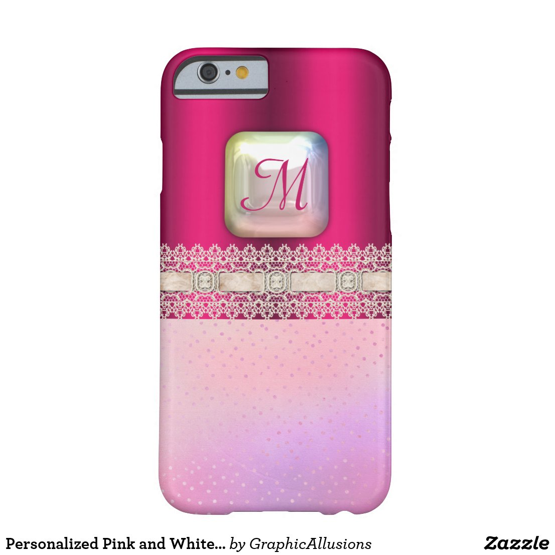Personalized Pink and White Lace Monogrammed Pearl Case-Mate iPhone Case