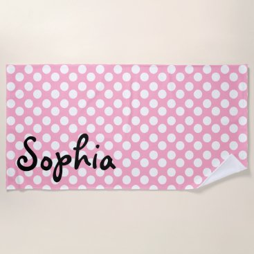 Beach Themed Personalized Pink and White Polka Dot Beach Towel