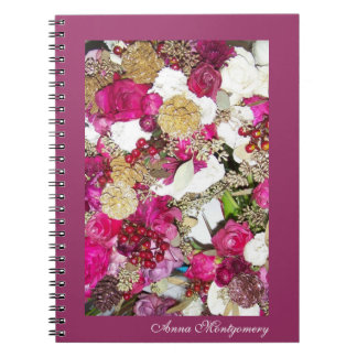 Personalized Pink and White Rose Floral Notebook