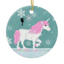 Personalized Pink and White Unicorn and Fairy Ceramic Ornament
