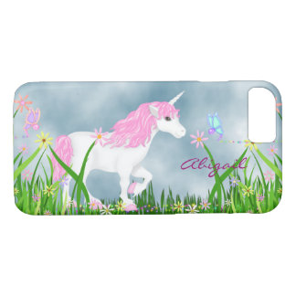Personalized Pink and White Unicorn with Flowers iPhone 7 Case
