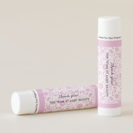 Personalized pink and white whimsical daisy print lip balm