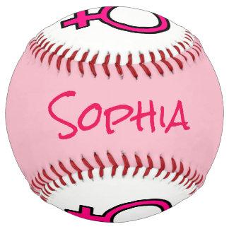 Personalized Pink and White Woman Symbol Softball