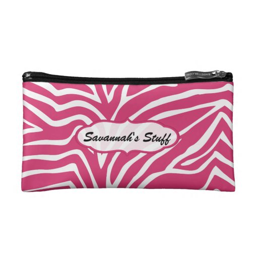 Personalized Pink and White Zebra Black Trim Bag Cosmetics Bags