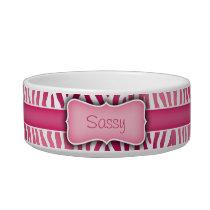 Personalized Pink and White Zebra Pattern Bowl