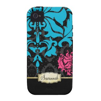 Personalized Pink Aqua Black and Gold iPhone Case Vibe Iphone 4 Case
