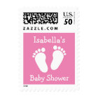 Personalized pink baby footprints shower stamps