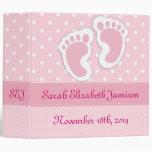Personalized Pink Baby Girl Footprints Photo Album Binder