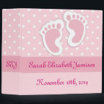 """Personalized Pink Baby Girl Footprints Photo Album Binder<br><div class=""""desc"""">Personalized Pink Baby Girl Footprints Photo Album Fill in the blanks with the name,  date of birth,  and initials.</div>"""
