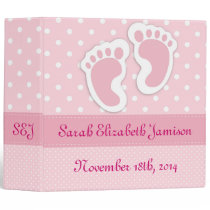 Personalized Pink Baby Girl Footprints Photo Album Binder