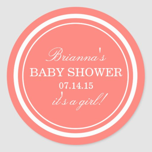 personalized pink baby shower stickers zazzle