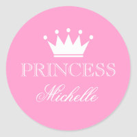 Personalized pink baby shower stickers with crown
