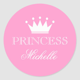 Personalized pink baby shower stickers with crown stickers