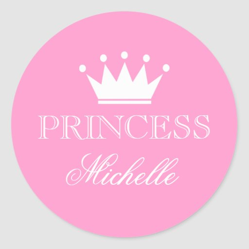 personalized pink baby shower stickers with crown stickers zazzle