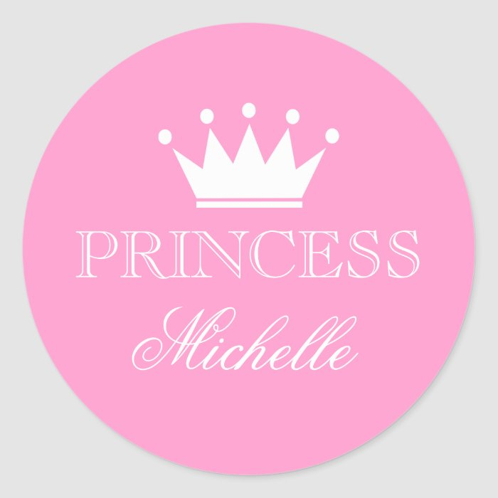 personalized pink baby shower stickers with crown zazzle
