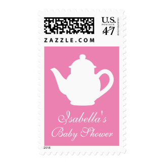 Personalized pink baby shower tea party stamps