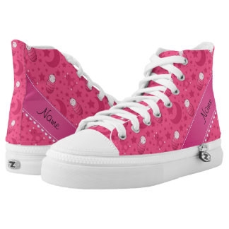 Personalized pink baby teddy bear stars moons High-Top sneakers