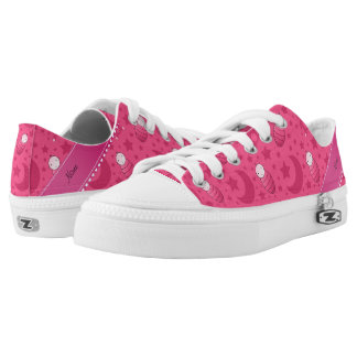 Personalized pink baby teddy bear stars moons Low-Top sneakers