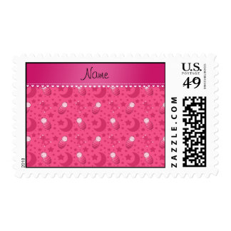Personalized pink baby teddy bear stars moons postage