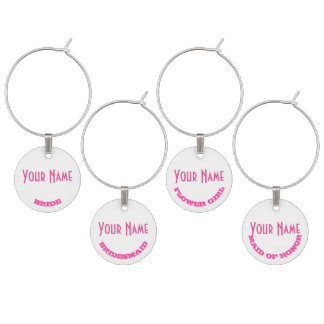 Personalized pink bachelorette or wedding party wine charms