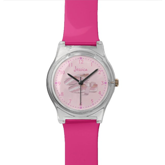Personalized Pink Ballerina Watch Ballet Shoes