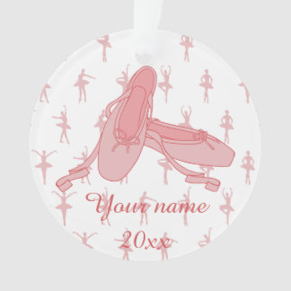 Personalized Pink Ballet Slippers Ballerina Ornament