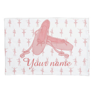Personalized Pink Ballet Slippers Ballerina Pillowcase