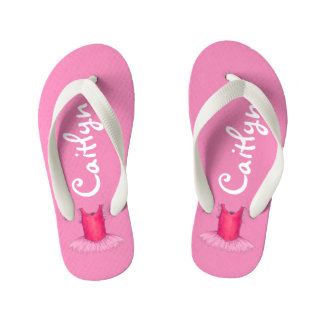 Personalized Pink Ballet Tutu Ballerina Dance Gift Kid's Flip Flops