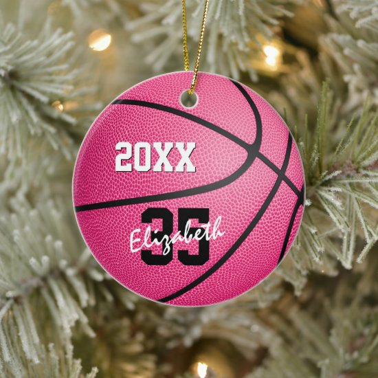 personalized pink basketball ornament for girls