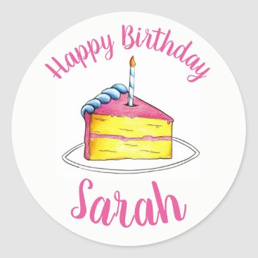 USA Themed Personalized Pink Birthday Party Cake Slice Candle Classic Round Sticker