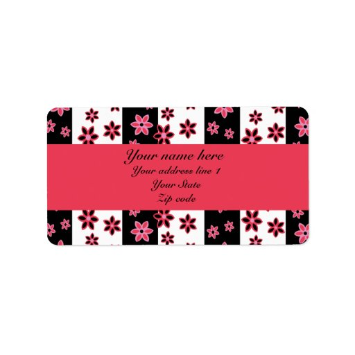 personalized pink black and white floral pattern address label