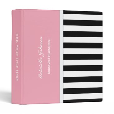 Beach Themed Personalized: Pink Black And White Striped Binder