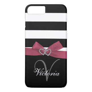 Personalized Pink, Black Bold Stripes Printed Bow iPhone 7 Plus Case