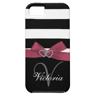 Personalized Pink, Black Bold Stripes Printed Bow iPhone SE/5/5s Case