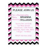 Personalized Pink & Black Chevron Bachelorette 5x7 Paper Invitation Card