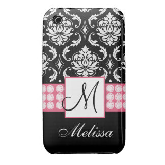 Personalized Pink Black Damask iPhone 3G Case