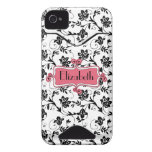 Personalized Pink Black Damask iPhone 4 Case