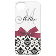 Personalized Pink Black Damask bow iPhone Case-Mate