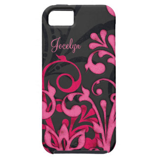 Personalized Pink Black Floral iPhone 5 Vibe Case iPhone 5 Case