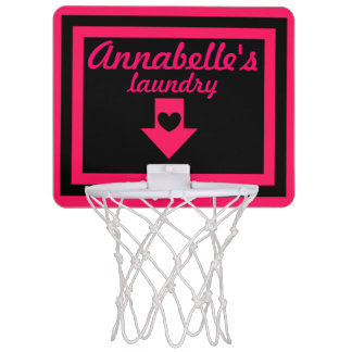 Personalized Pink & Black Girl's Basketball Hoop