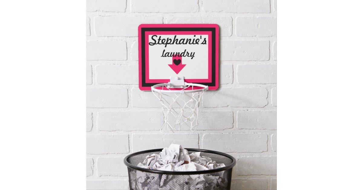 Personalized pink black laundry basketball hoop zazzle - Laundry basket basketball hoop ...