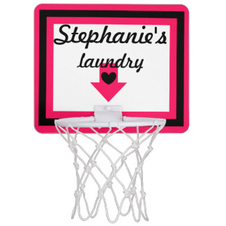 Personalized Pink & Black Laundry Basketball Hoop