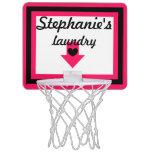Personalized Pink & Black Laundry Basketball Hoop Mini Basketball Hoops