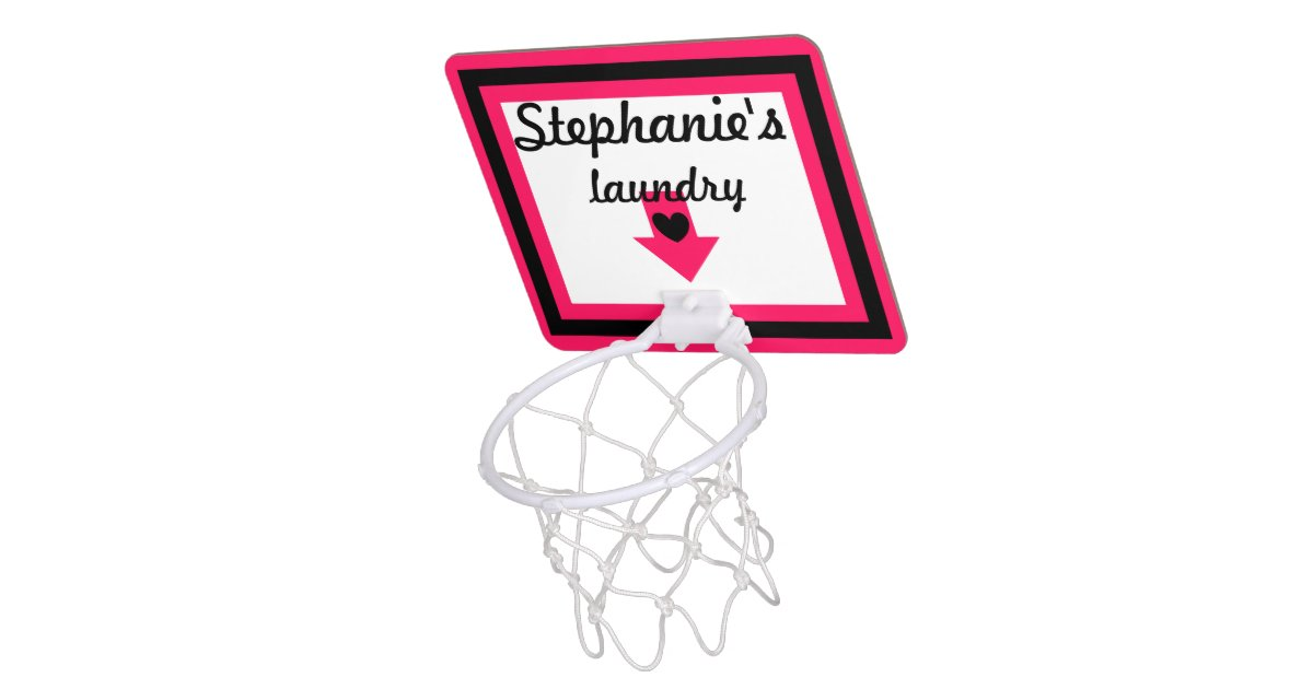 Personalized pink black laundry basketball hoop mini basketball hoops zazzle - Laundry basket basketball hoop ...