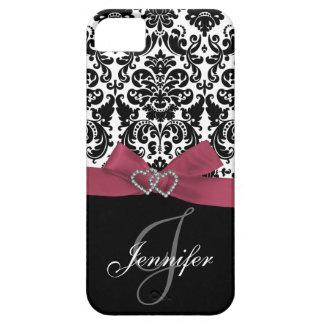 Personalized Pink, Black Ornate Damask Case