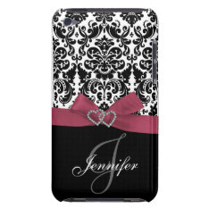 Personalized Pink, Black Ornate Damask Case at Zazzle