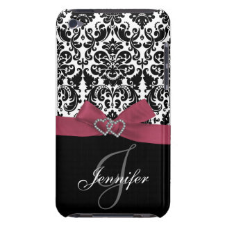 Personalized Pink, Black Ornate Damask Case