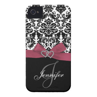 Personalized Pink Black Ornate Damask Case iPhone 4 Case-Mate Cases